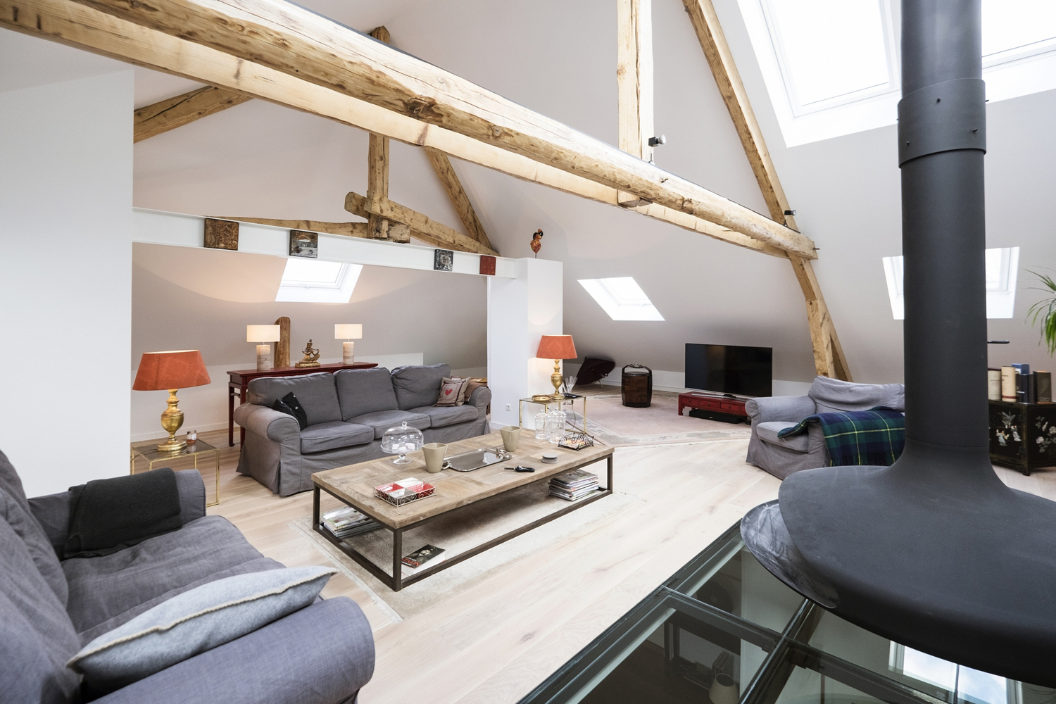 Modern Attic With Fireplace