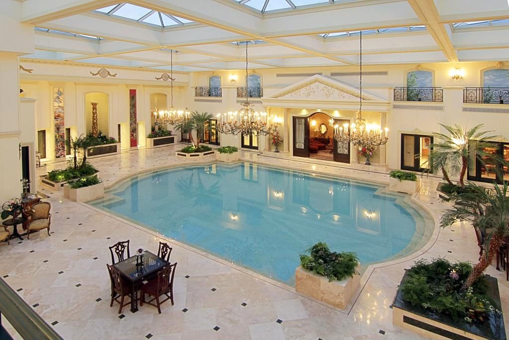 Inspiring indoor swimming pool design ideas for luxury for Mansion plans with indoor pool