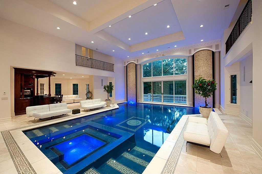 luxury mansion indoor swimming pool elegant - Luxury Homes With Pools