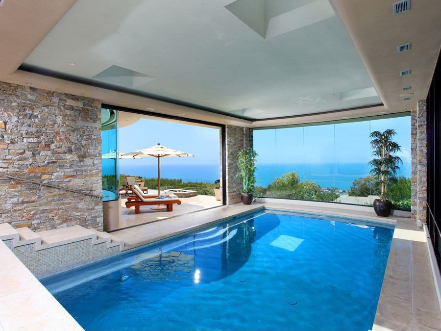 modern indoor pool with ocean view - Luxury Homes With Pools