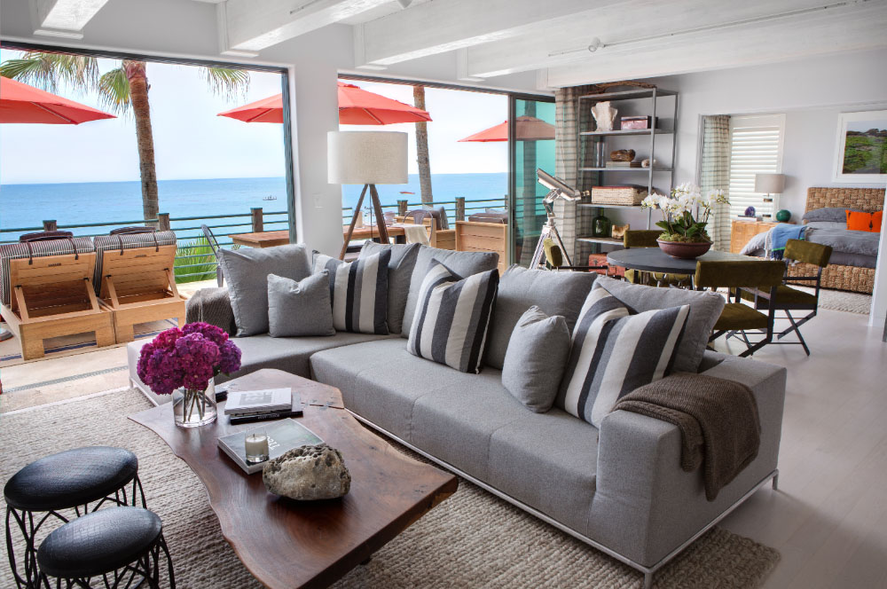 Malibu beach house with colorful coastal interior decor for Coastal contemporary design