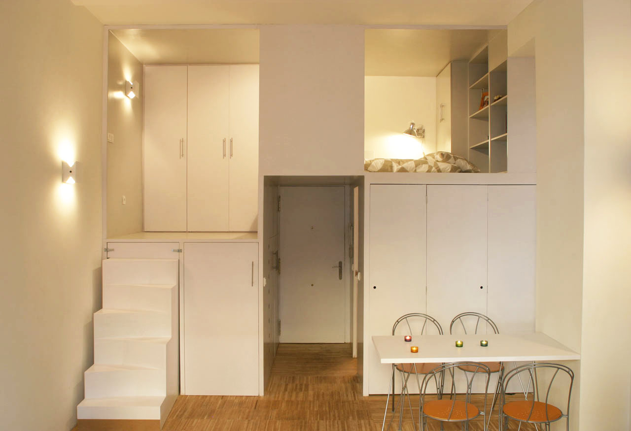 300 square foot micro studio loft apartment with space - How decorate small apartment ...