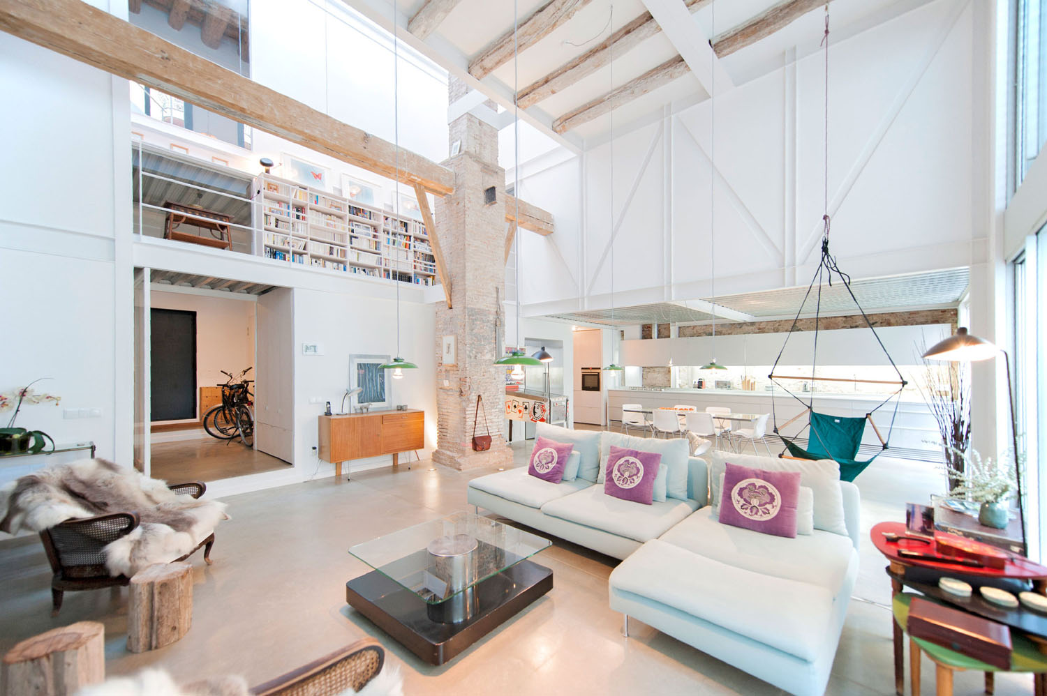 Contemporary Home with Wood Beams and High Celiling