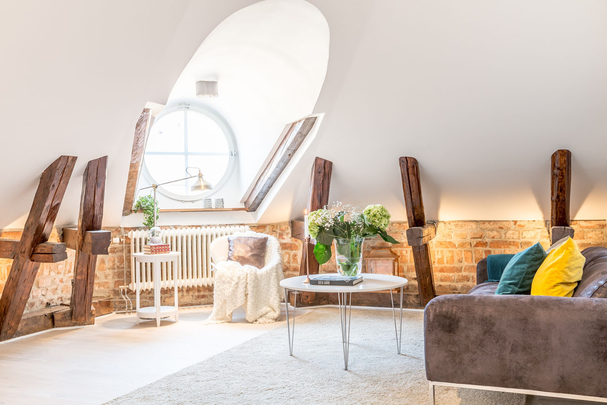 Dream Attic Apartment In Stockholm With Preserved Wood Beams ...