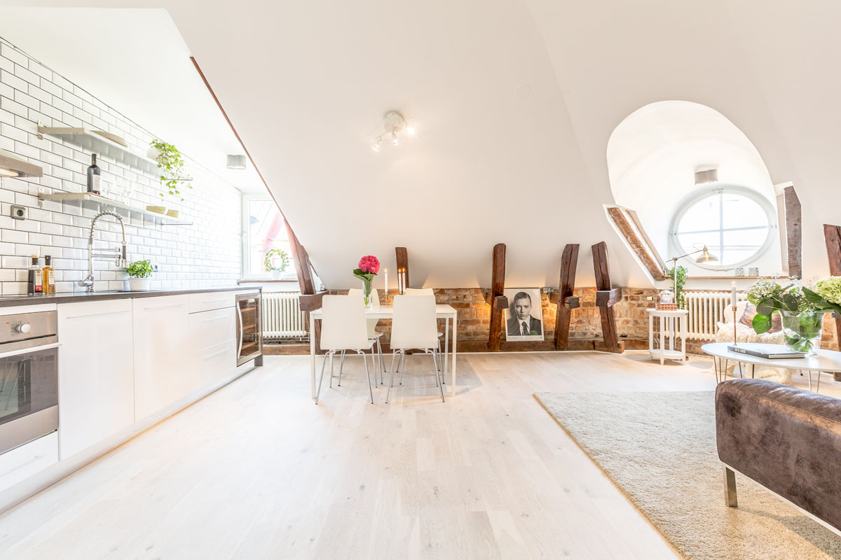 Attic Kitchen Dream Attic Apartment In Stockholm With Preserved Wood Beams