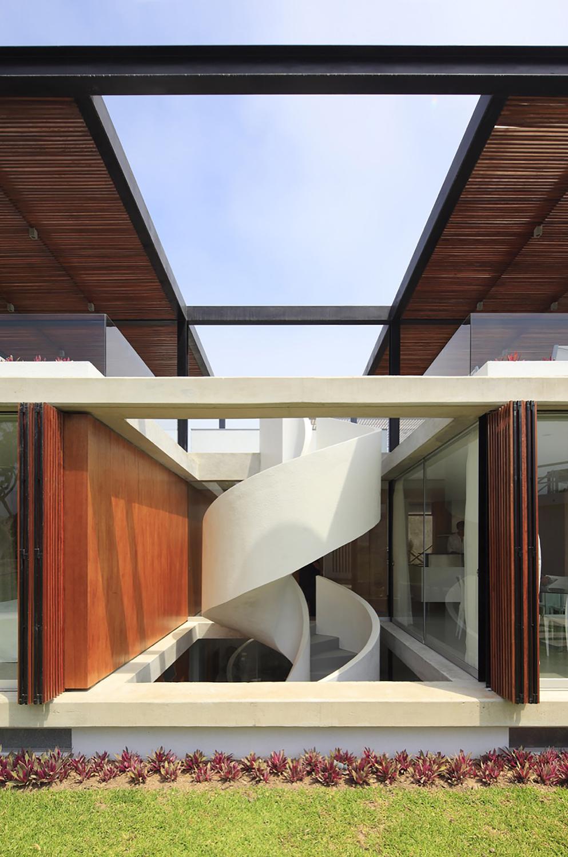 Modern White Spiral Staircase
