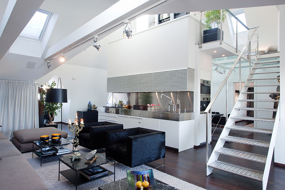 Modern penthouse with skylights idesignarch interior for Modern small flat interior design