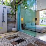 Romantic Modern Balinese Outdoor Showers at the Chandra Villa