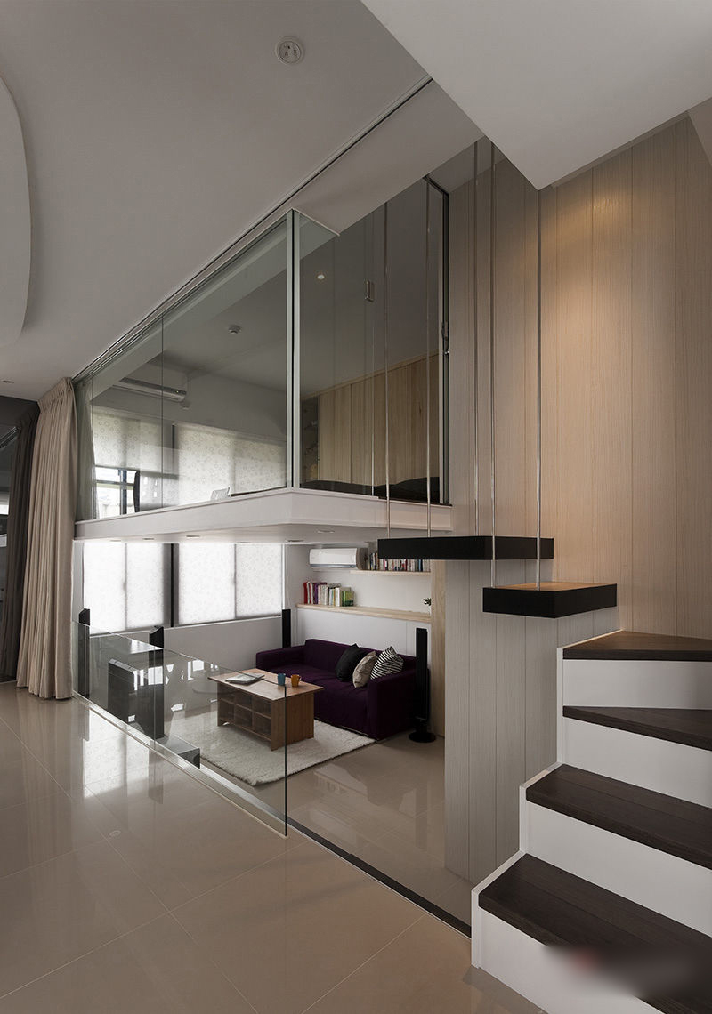 modern small apartment with open plan and loft bedroom