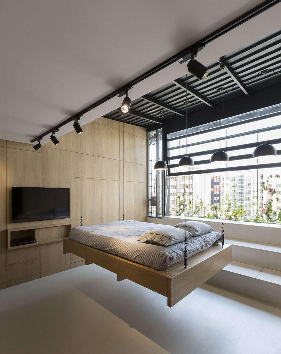 Rooftop apartment with hidden functional service spaces for 45m2 apartment design