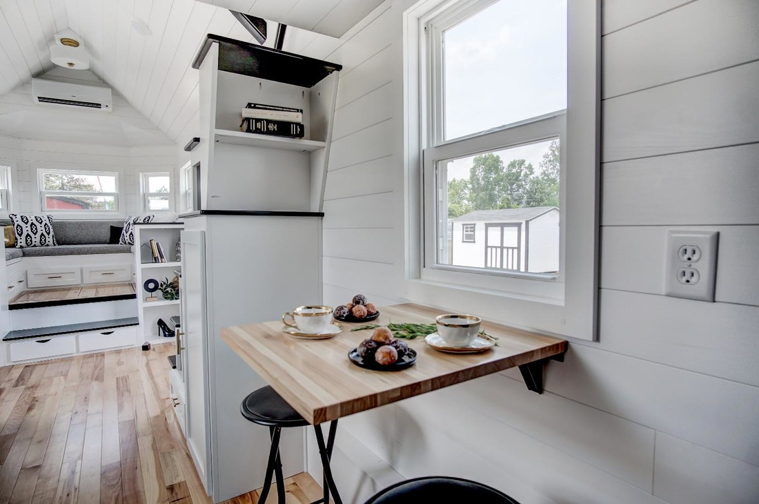 Under Bed Storage With Wheels >> Beautifully Designed Tiny House with Luxury Kitchen and Spacious Living Area | iDesignArch ...