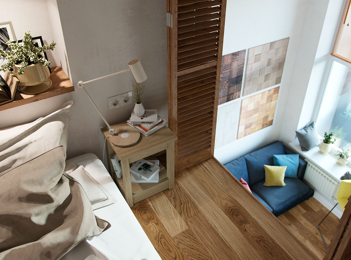 Small Studio Apartments small studio apartment in moscow with loft bedroom | idesignarch