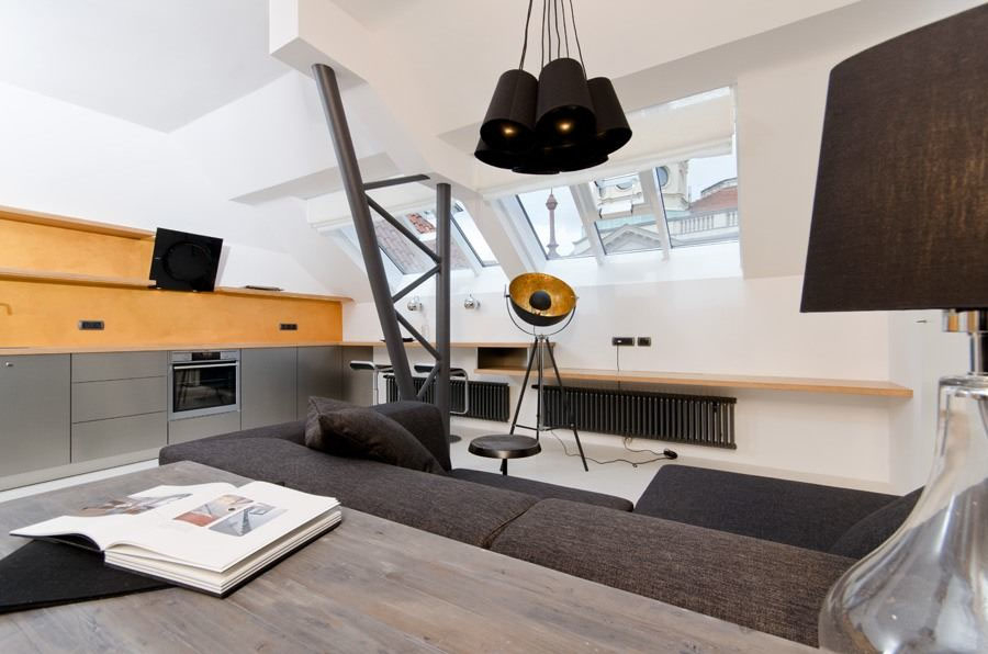 Cool small attic loft apartment with minimalist design for Minimalist small apartment