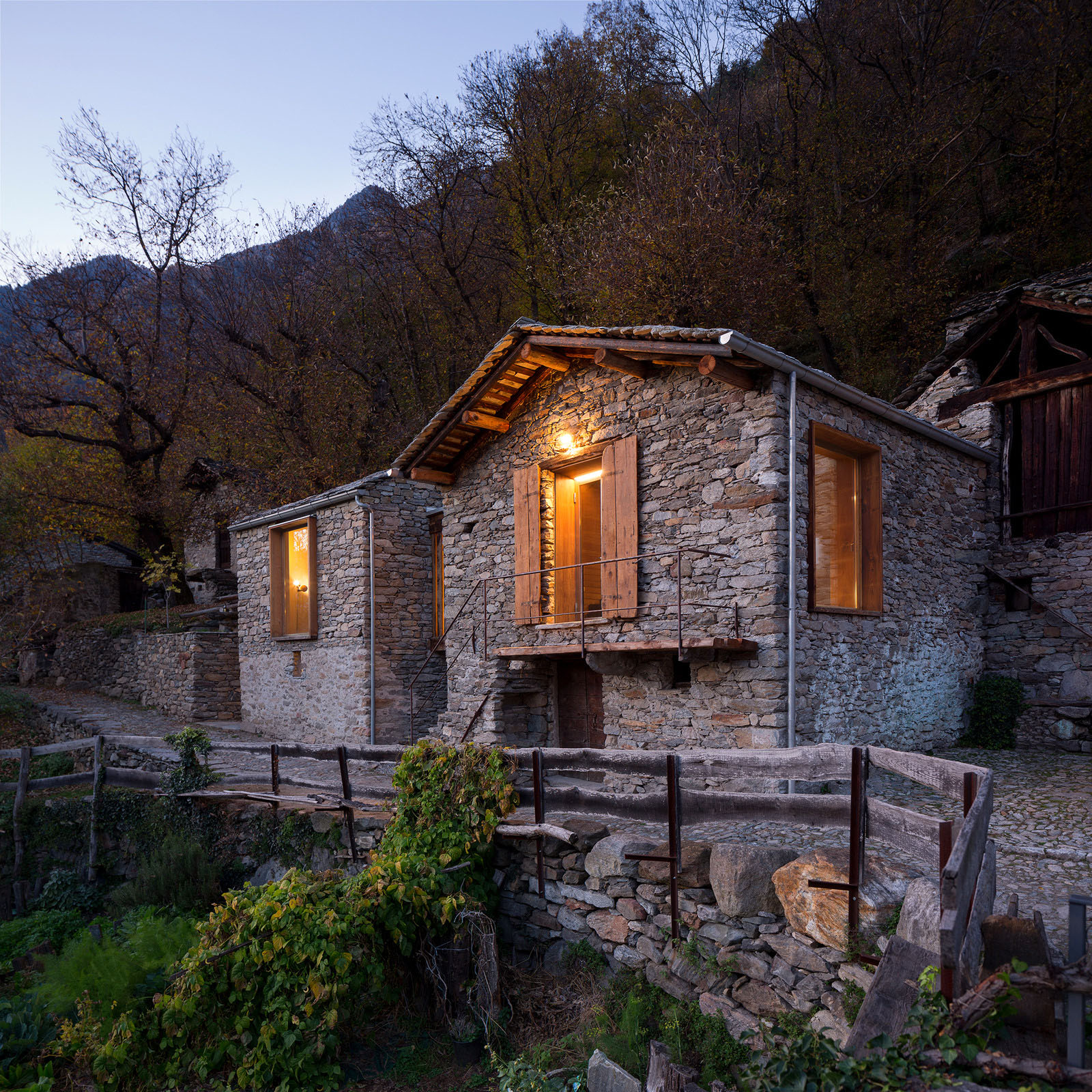 rustic stone house with modern interior