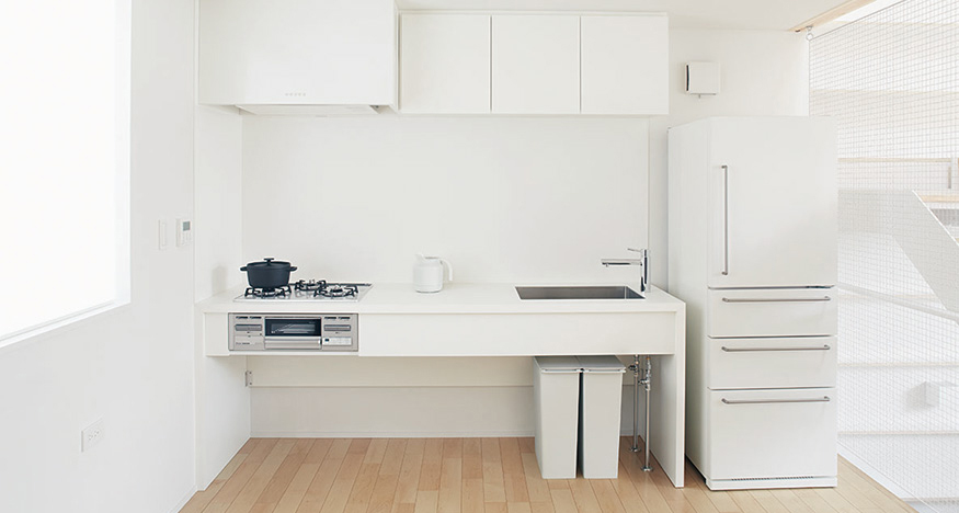 White Minimalist Tiny Kitchen