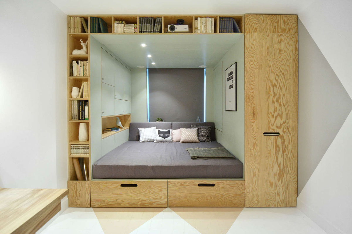Stylish bedroom design for teenager with multifunctional Miniature room boxes interior design