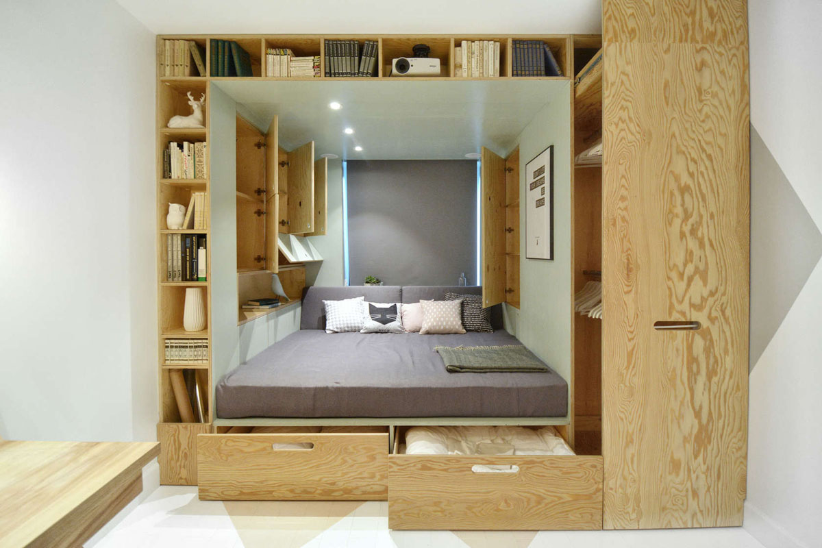 Stylish bedroom design for teenager with multifunctional for Interior design in a box