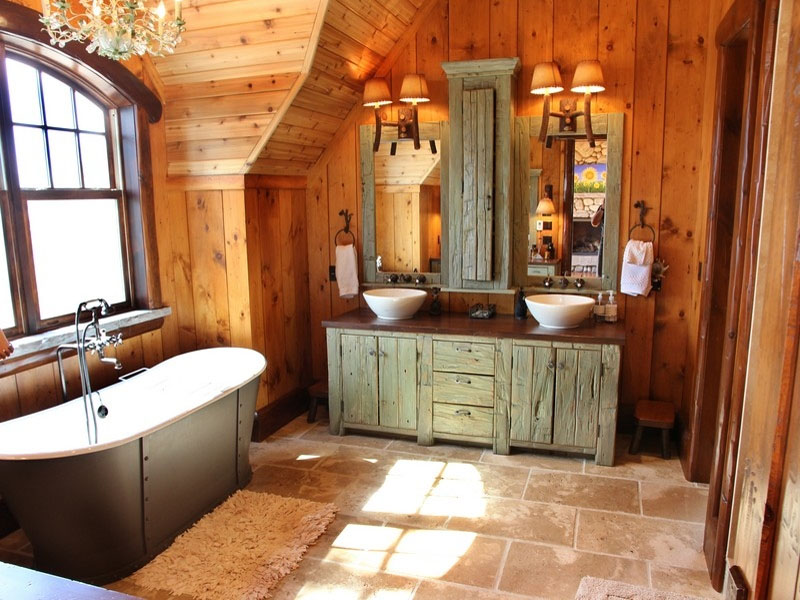 rustic bathroom. Black Bedroom Furniture Sets. Home Design Ideas