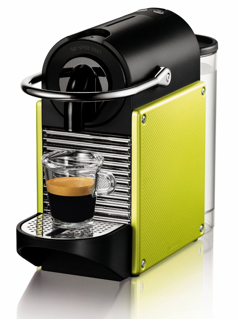 stylish coffee makers and espresso machines  idesignarch  - yellow lime nespresso espresso machine