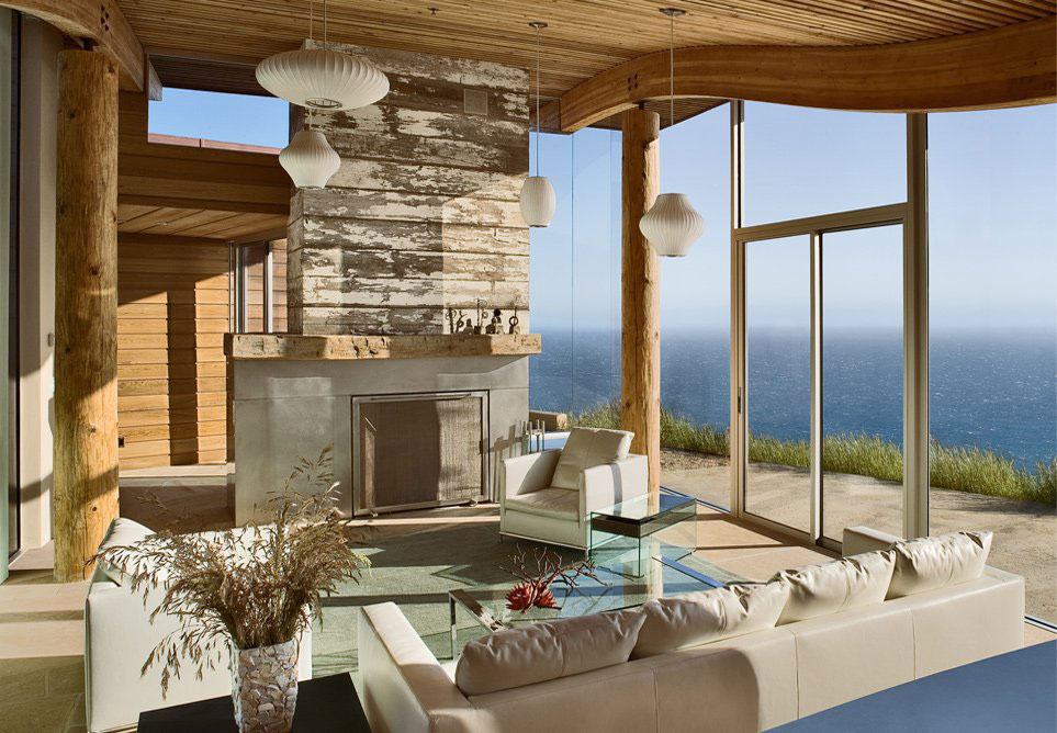 Rustic modern house overlooking the ocean in big sur for Modern house view