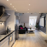 Elegant Small One Bedroom Modern Attic Apartment With Exposed Wood Beams