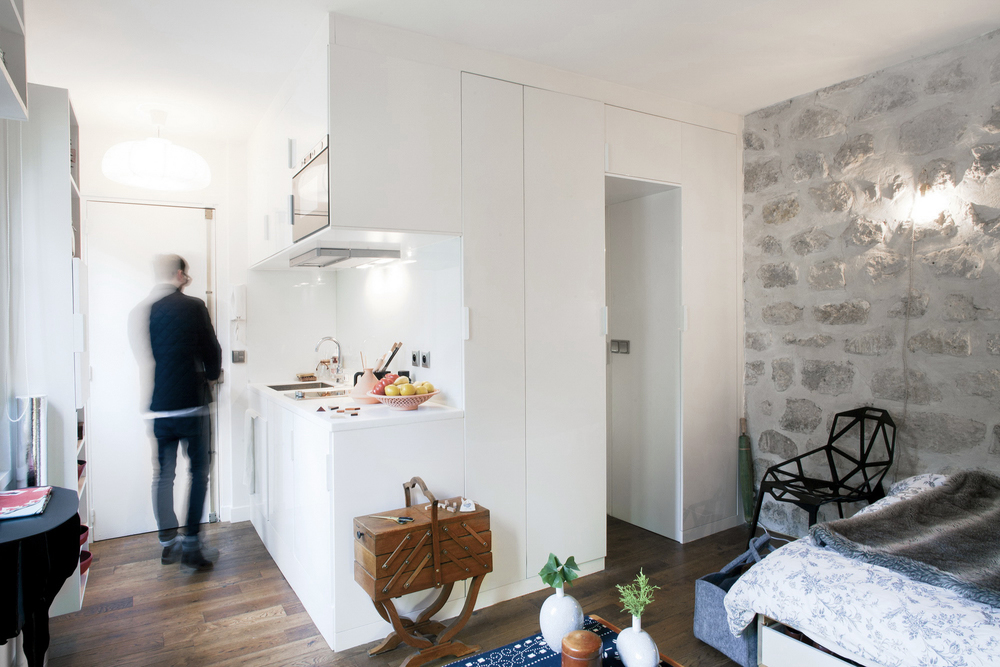 Paris Studio Apartment with Stone Wall