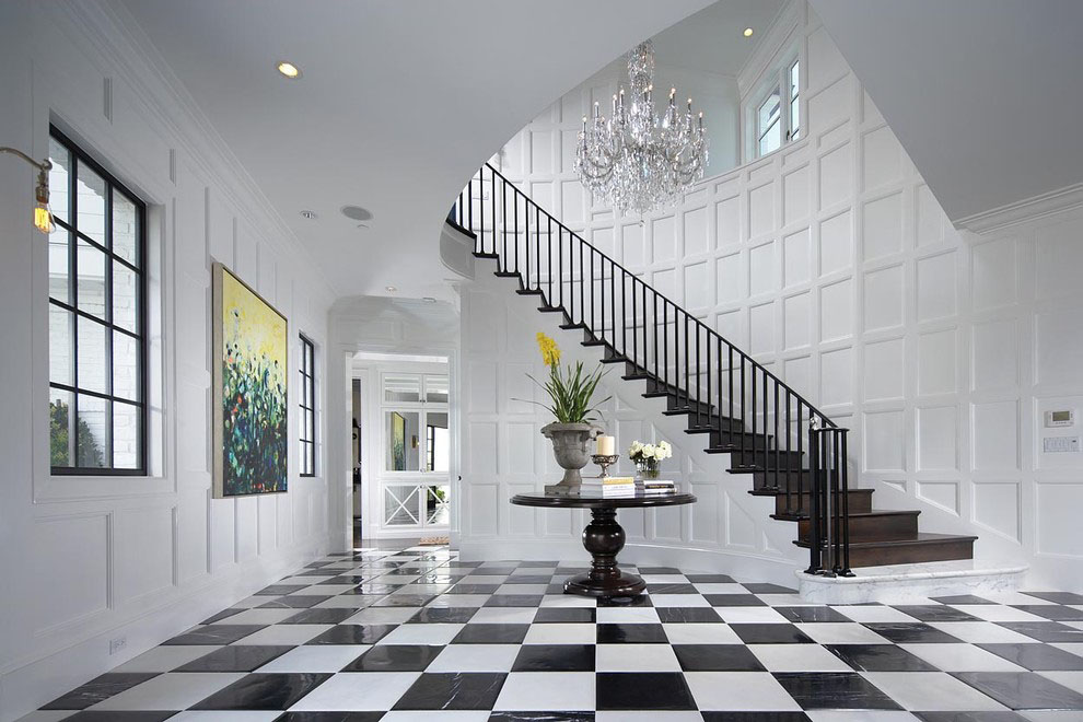 dramatic conservatory-inspired foyer