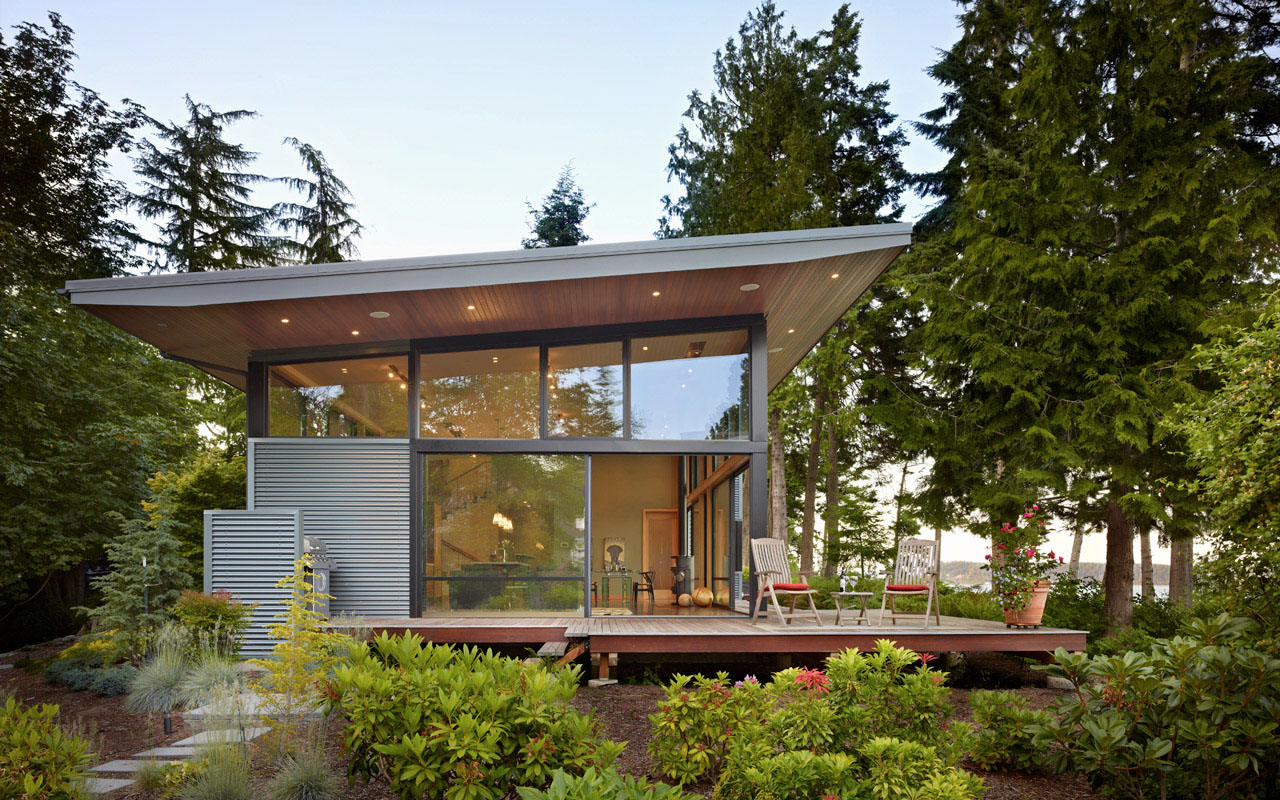 Secluded wooded modern home in port ludlow with expansive for Water view home plans