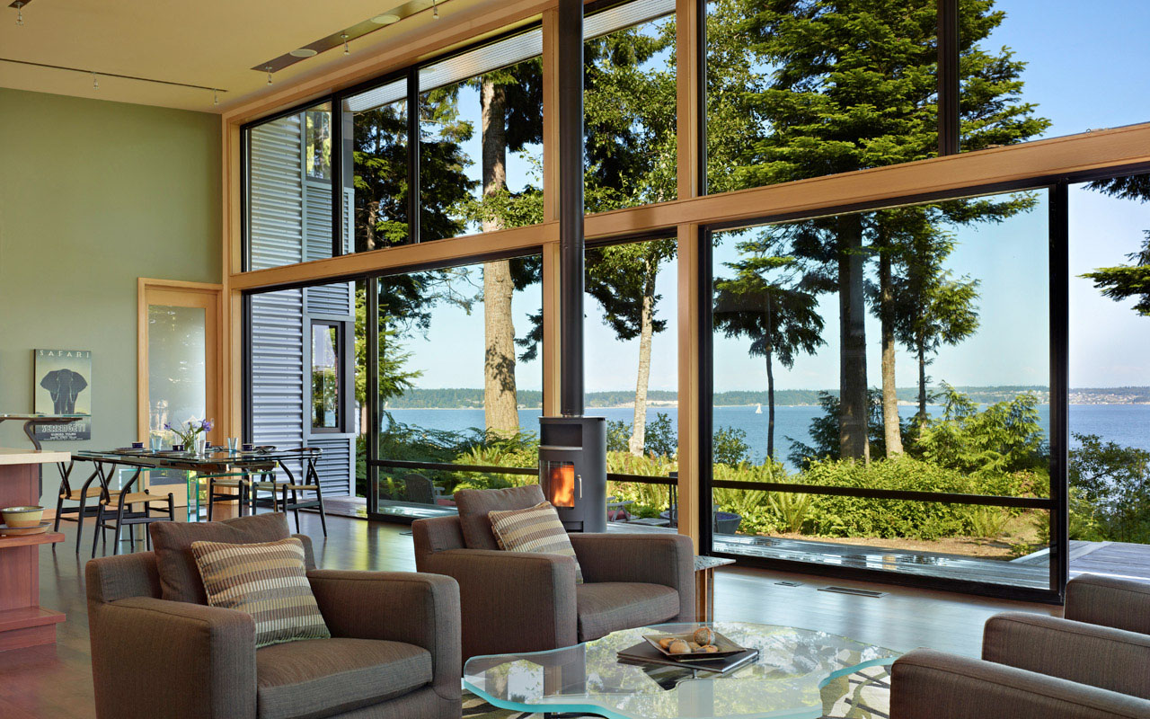 Secluded Wooded Modern Home In Port Ludlow With Expansive