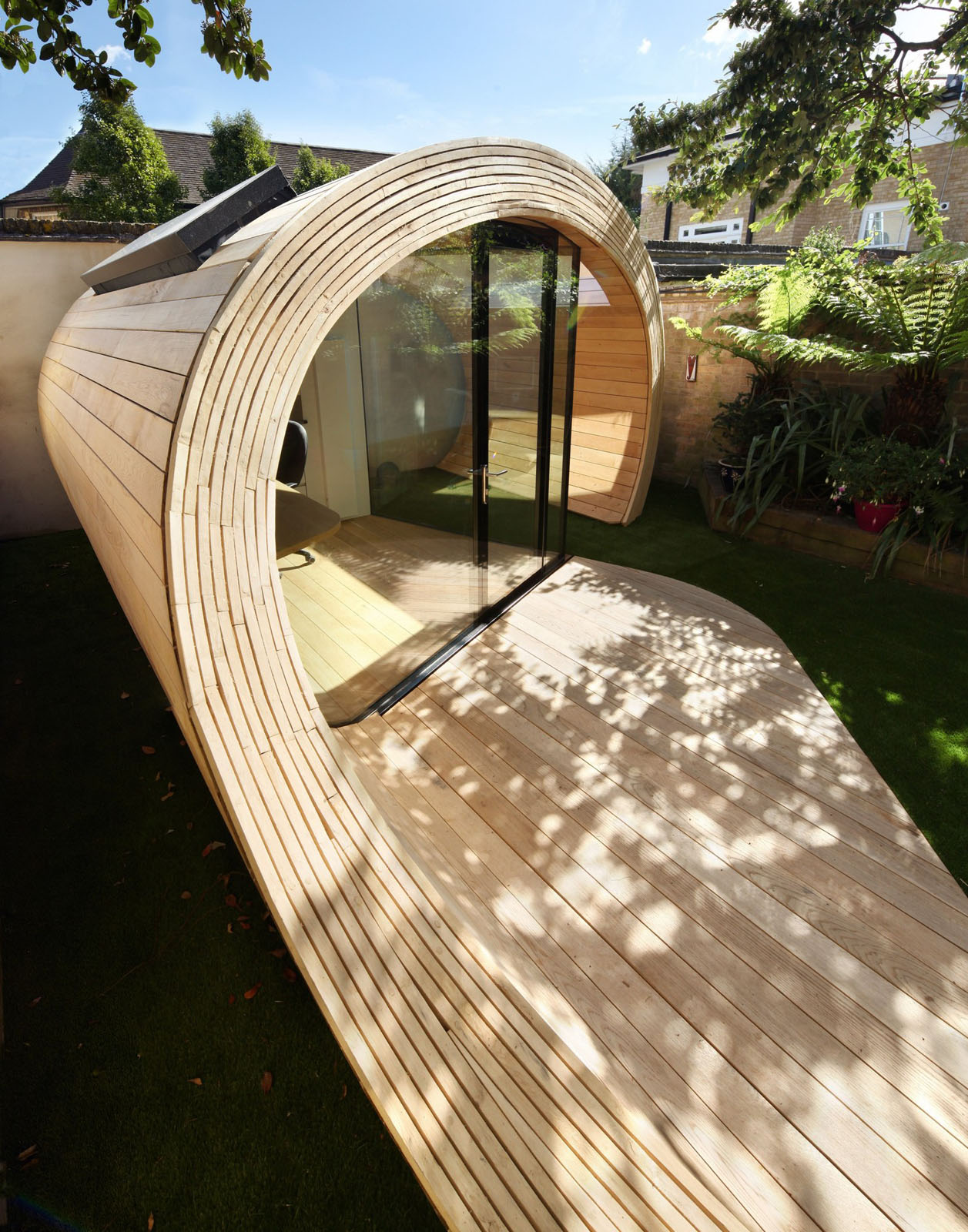 ^ Prefab Garden Pavilion With Shed nd Office Space  iDesignrch ...