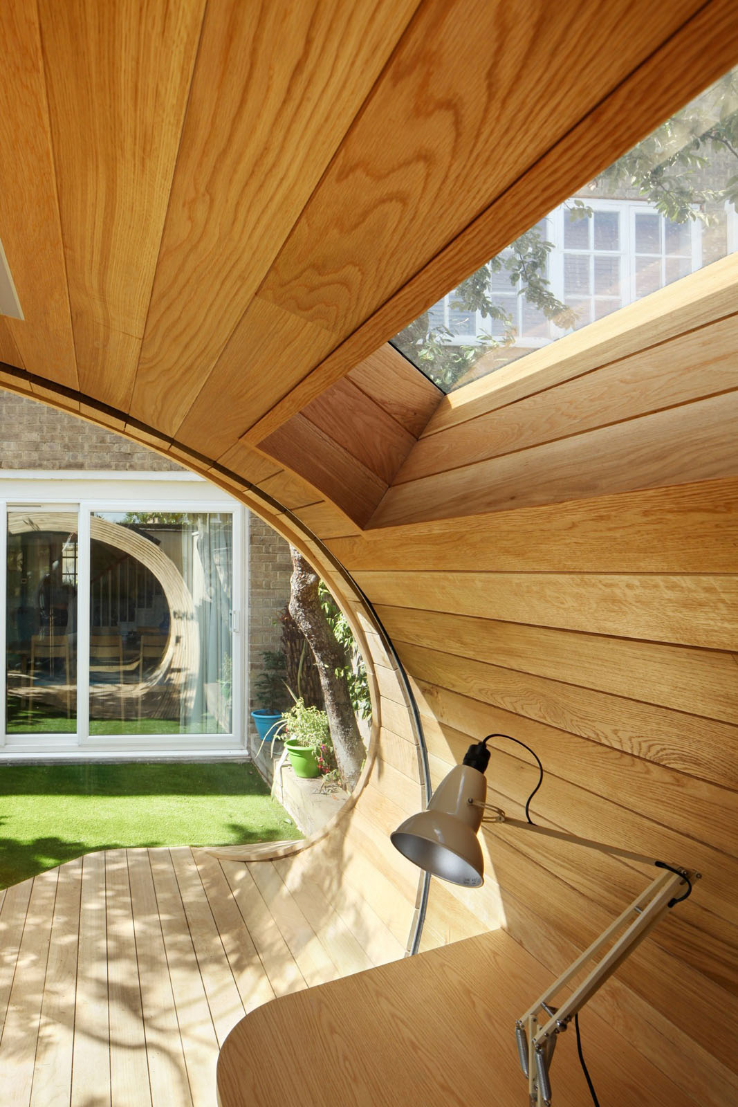 Prefab garden pavilion with shed and office space for Prefab interior arches