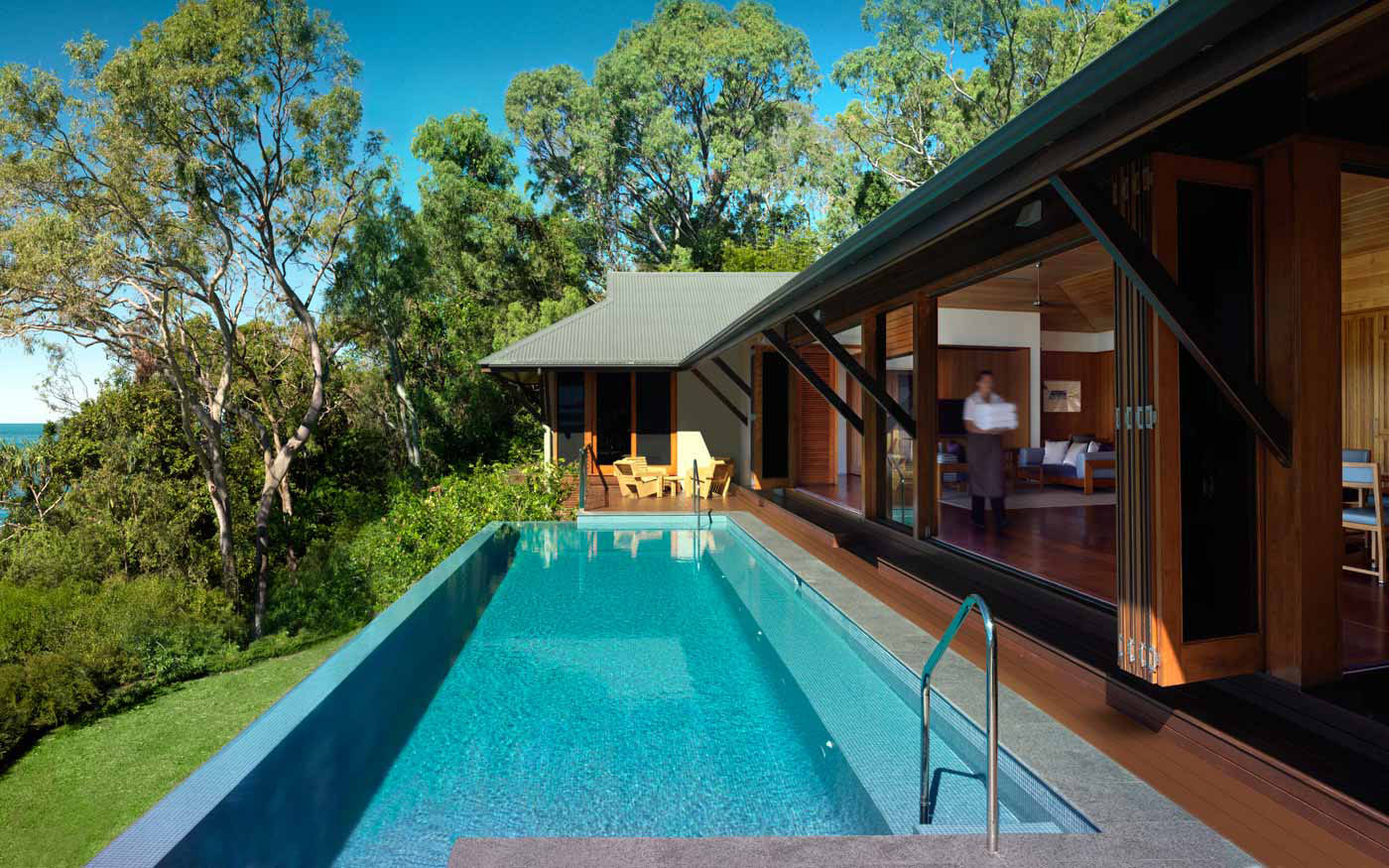 Secluded qualia resort in the great barrier reef for Pool design hamilton