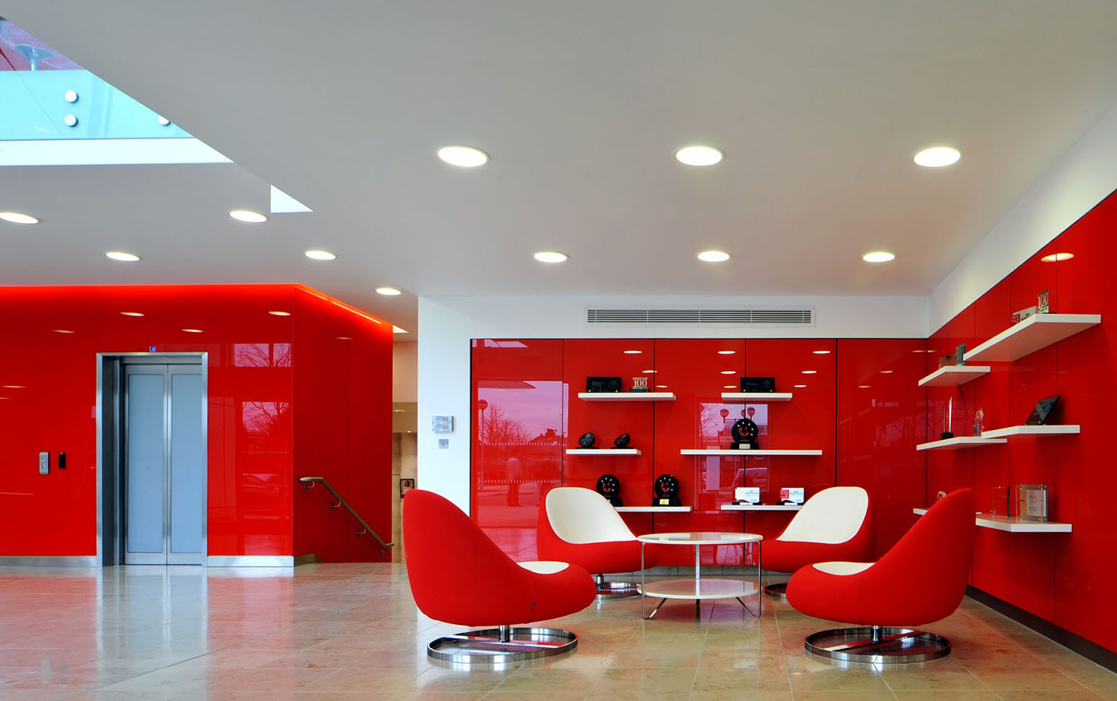 Inspiring british office interior design at rackspace - Red white interior design ...