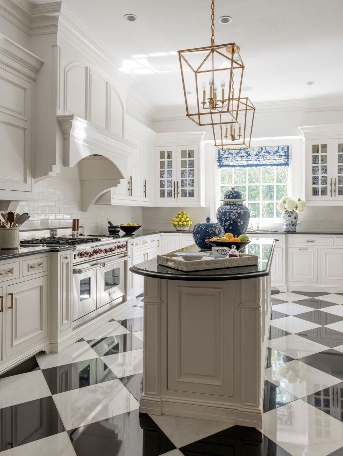 Classic Contemporary Kitchen with Checkered Flooring