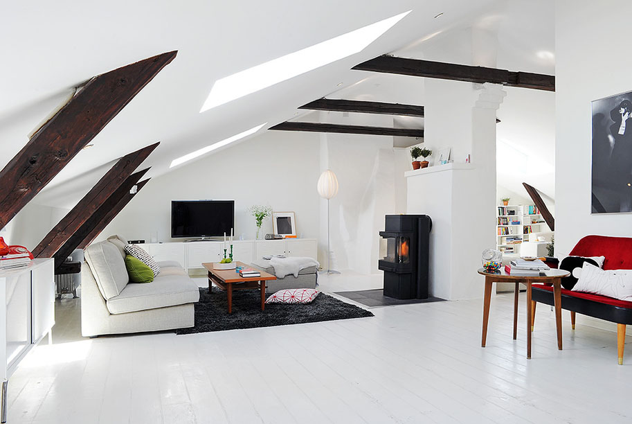 Renovated attic duplex apartment design idesignarch for Interior design for duplex living room