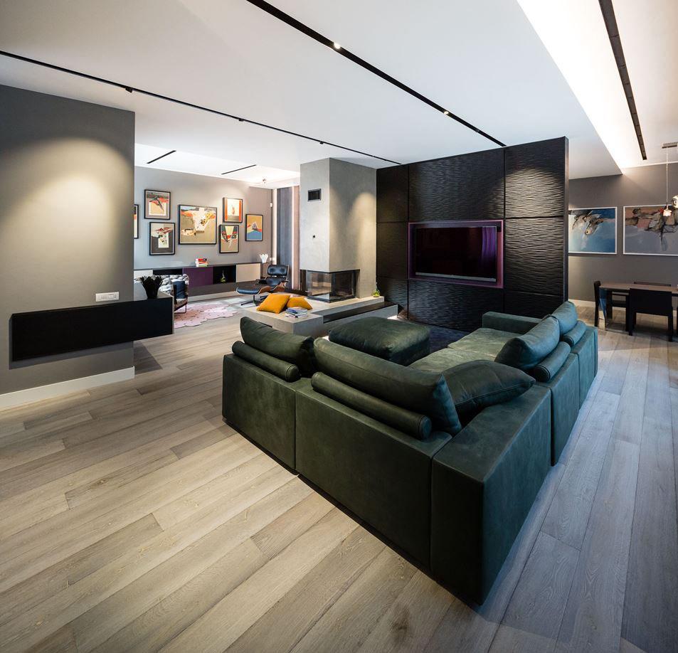 Modern apartment gray oak antique wood flooring