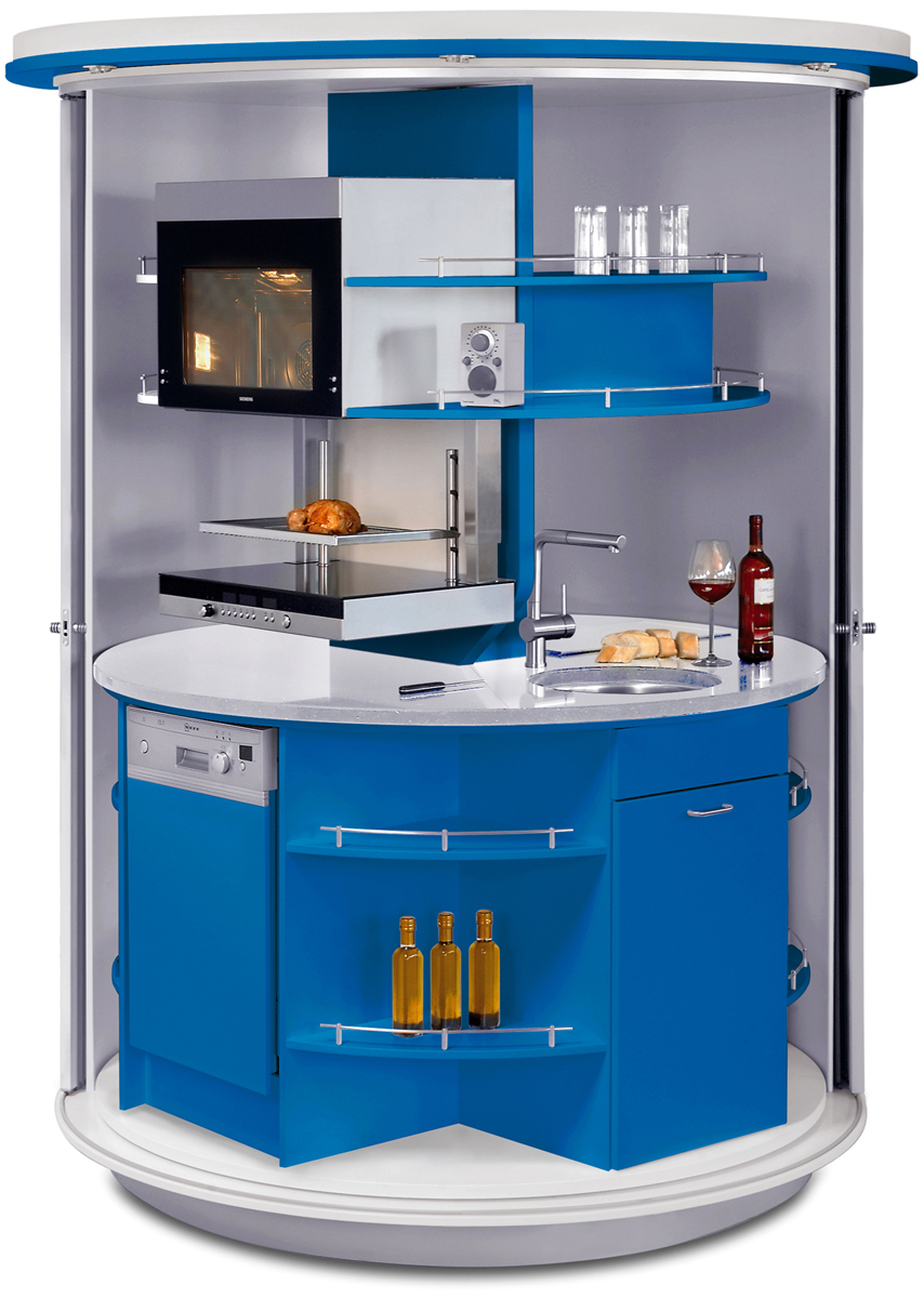 Revolving circle compact kitchen idesignarch interior for Mini kitchen design