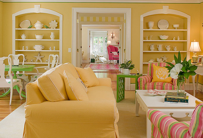 Traditional home design with summer colours idesignarch for Interior design living room yellow