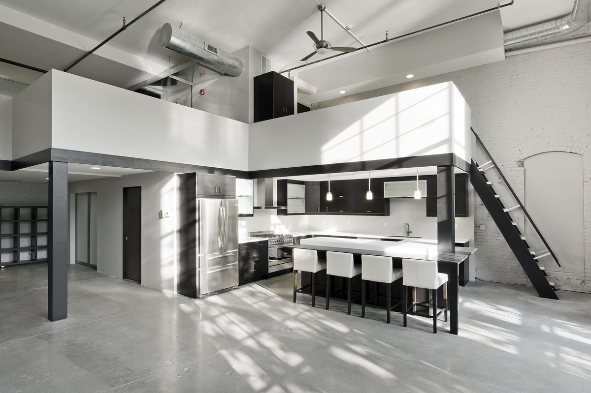 High ceilings industrial loft apartment