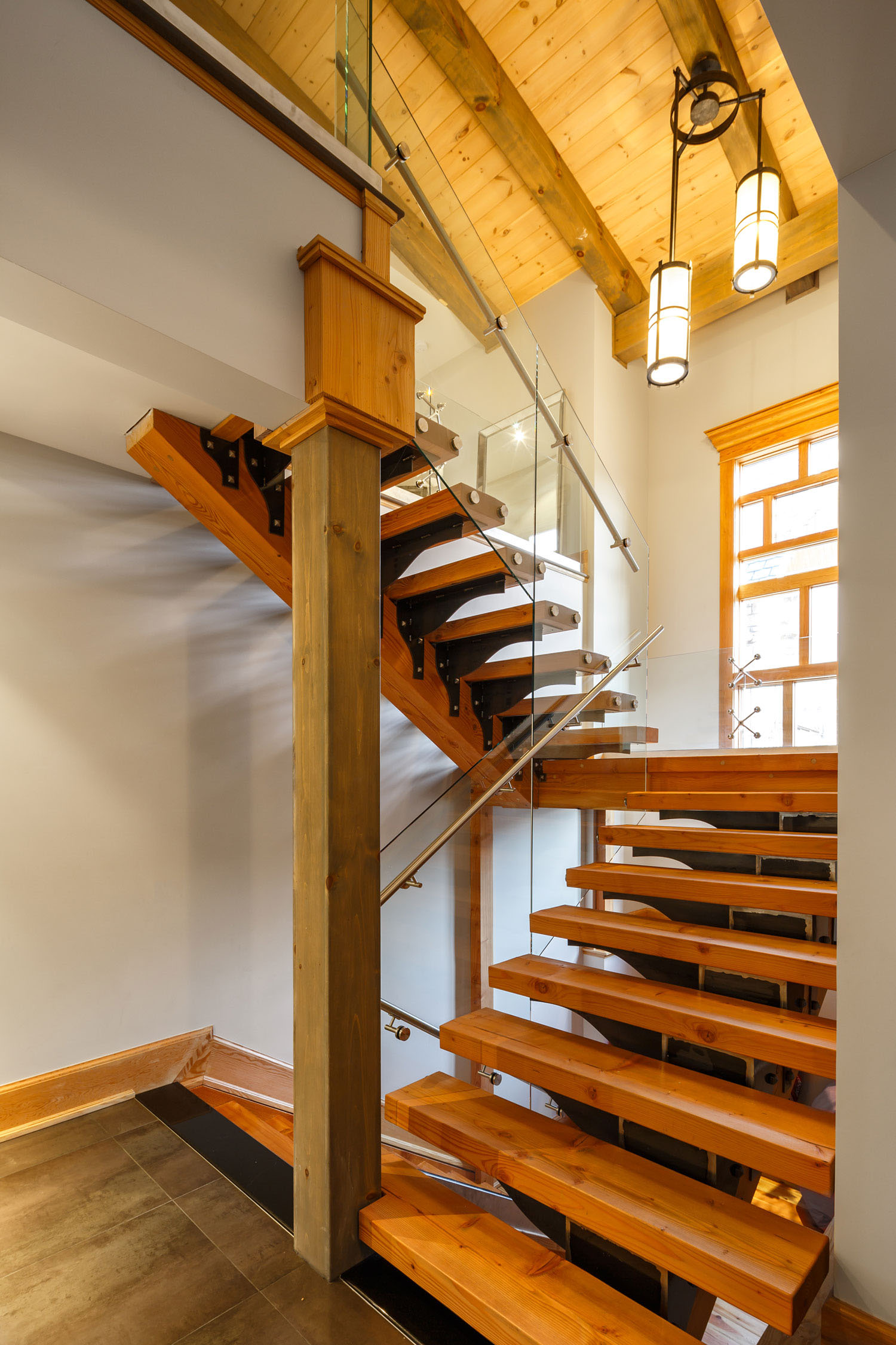 Modern Timber Staircase with Glass