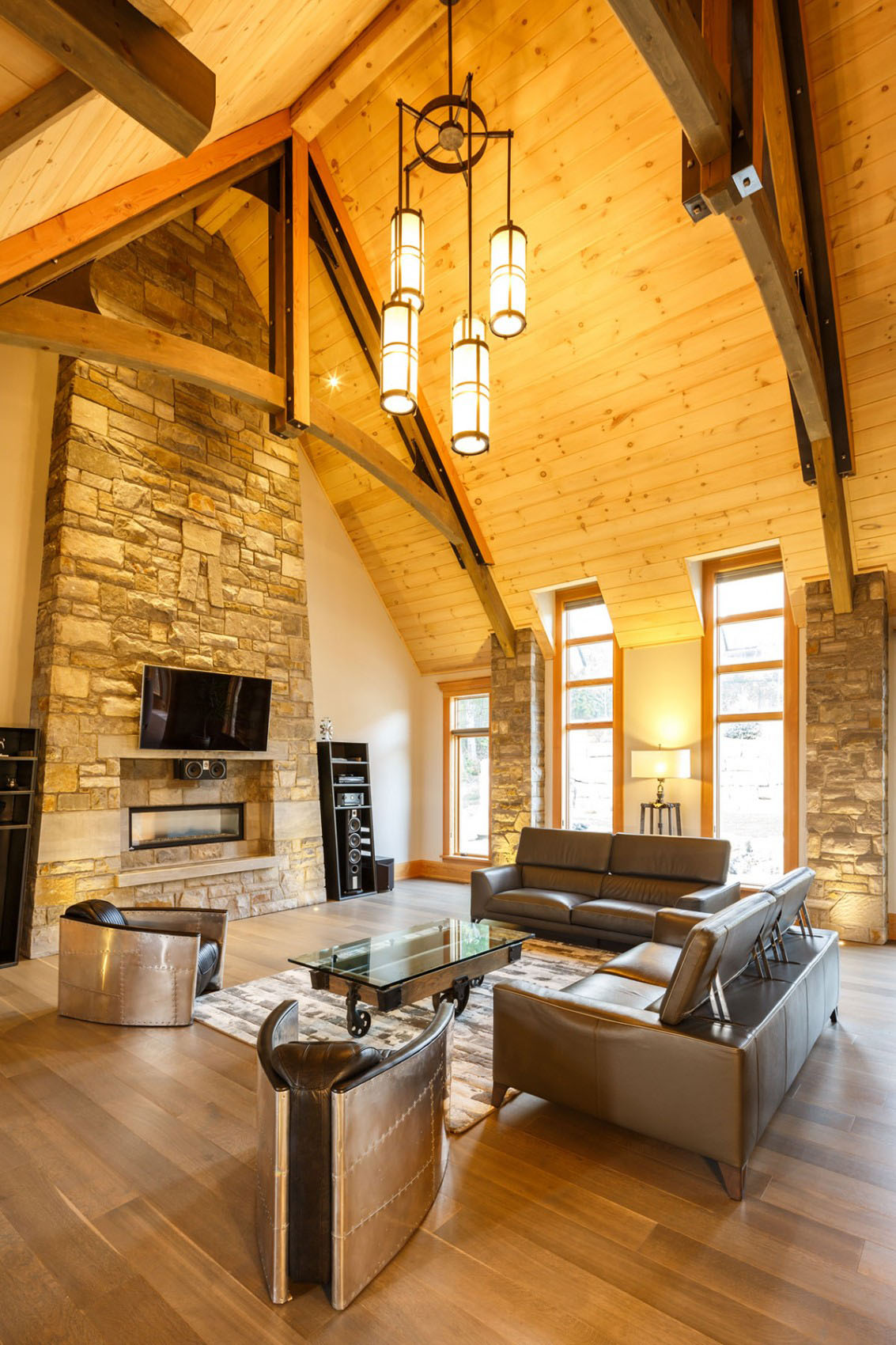 Timber Stone House with Cathedral Ceilings