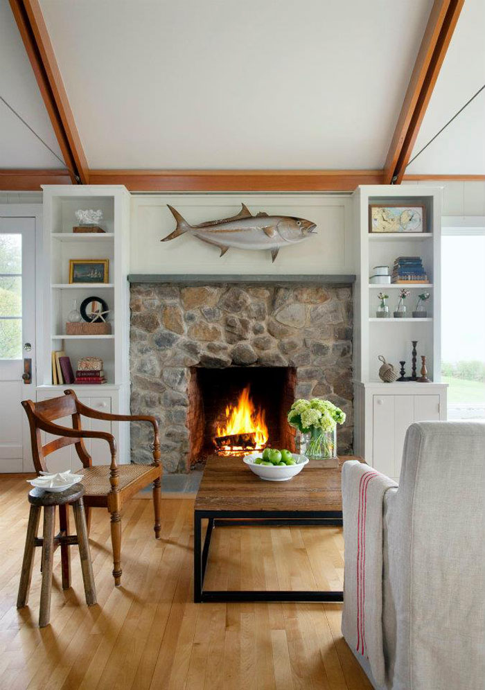 Beach House Stone Fireplace