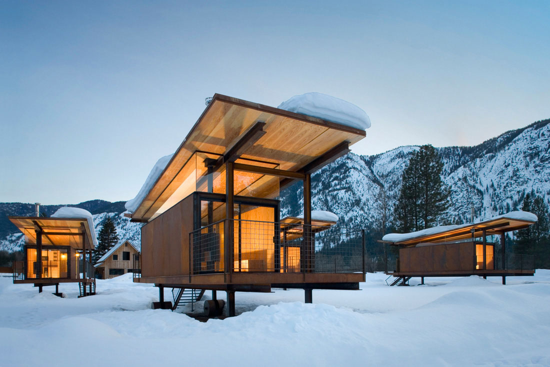 Movable camping huts and guest houses idesignarch for Contemporary cabin