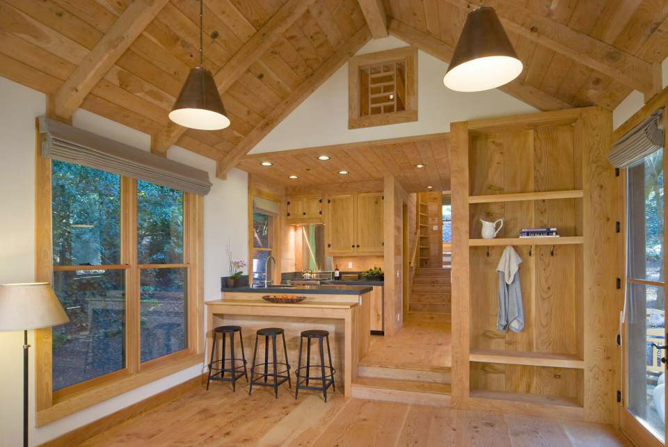 deodar cedar wood interior of small cabin - Cabin Interior Design Photos