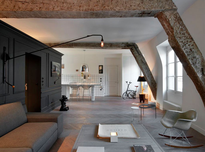 Small renovated attic apartment in paris with functional design idesignarch interior design - Images of small modern apartment interior in france ...