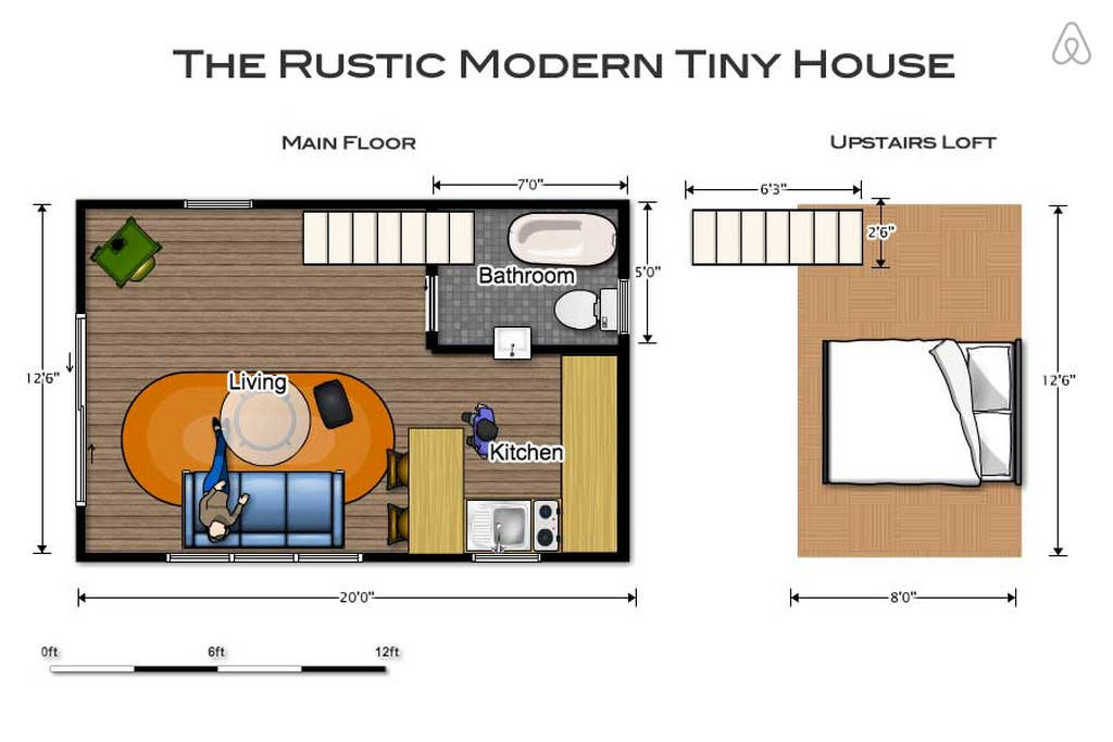 Cozy rustic tiny house with vintage decor idesignarch for Tiny house trailer floor plans