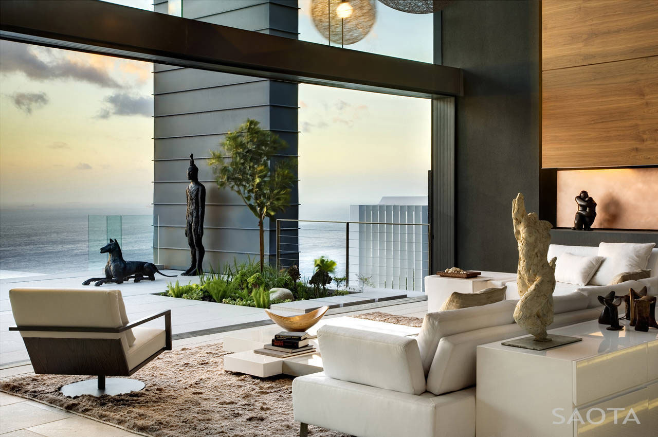 Ocean Living Room Modern Private Residence With Dramatic Living Room Overlooking The