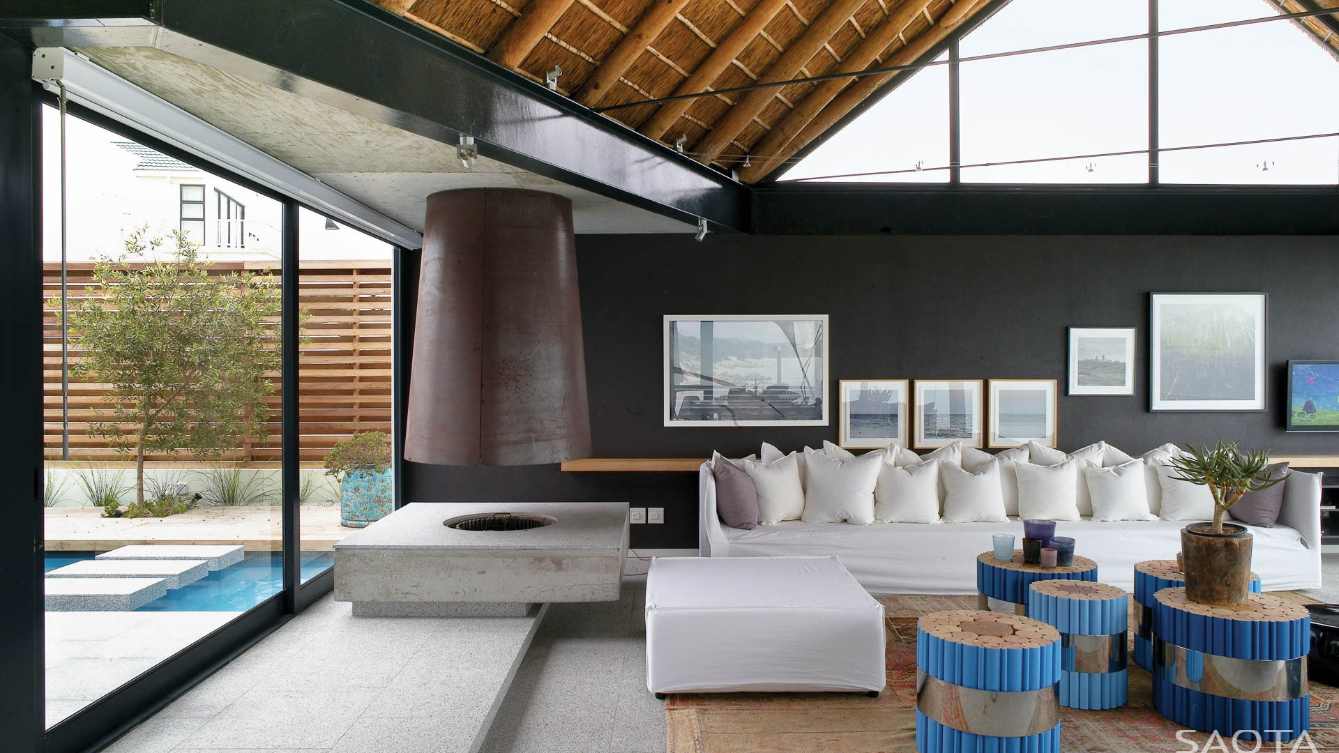 Ocean view contemporary luxury home with thatched roof for House decor ideas south africa