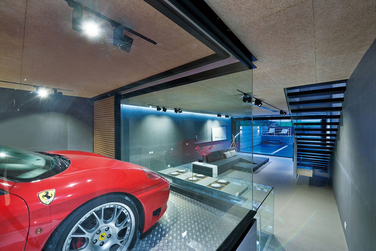 Garage with Glass Walls