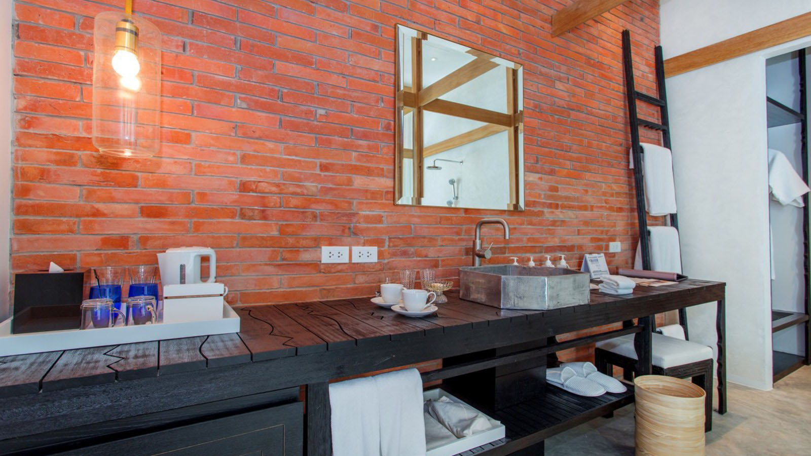 Bathroom With Brick Wall